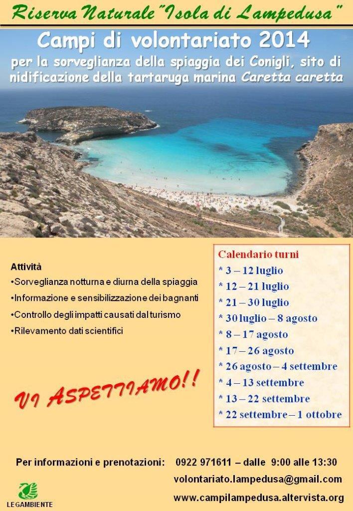 """Campi di volontariato per la tutela della Spiaggia dei Conigli, riserva naturale """"Isola di Lampedusa"""""""