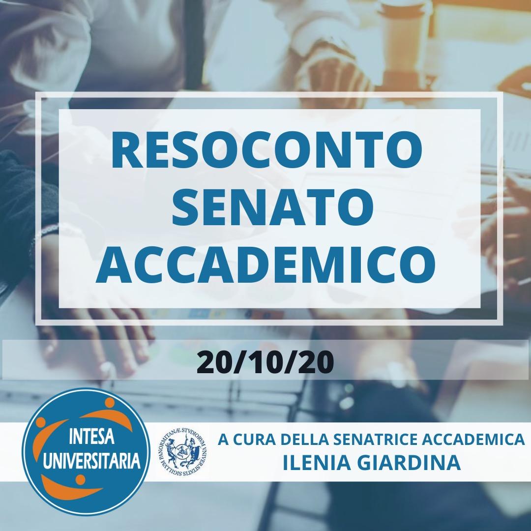 RESOCONTO SEDUTA SENATO ACCADEMICO 20/10/2020
