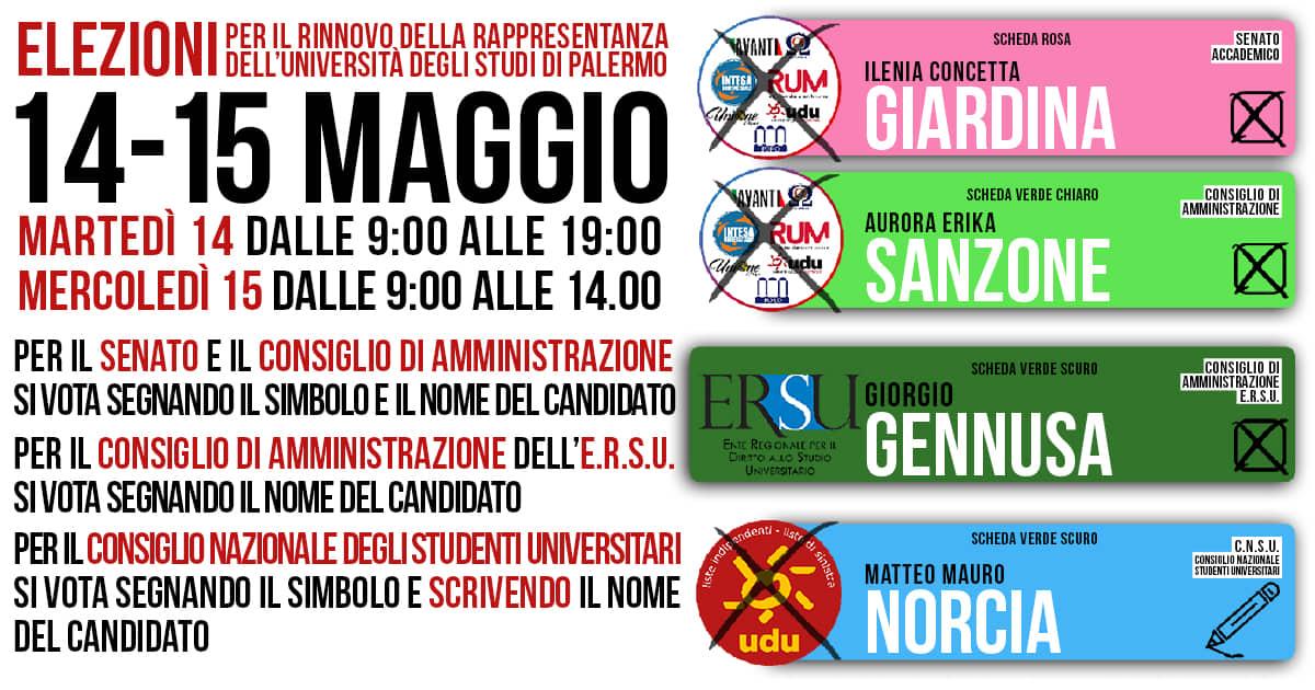 14 – 15 maggio: Programma elettorale elezioni organi superiori   Intesa Universitaria