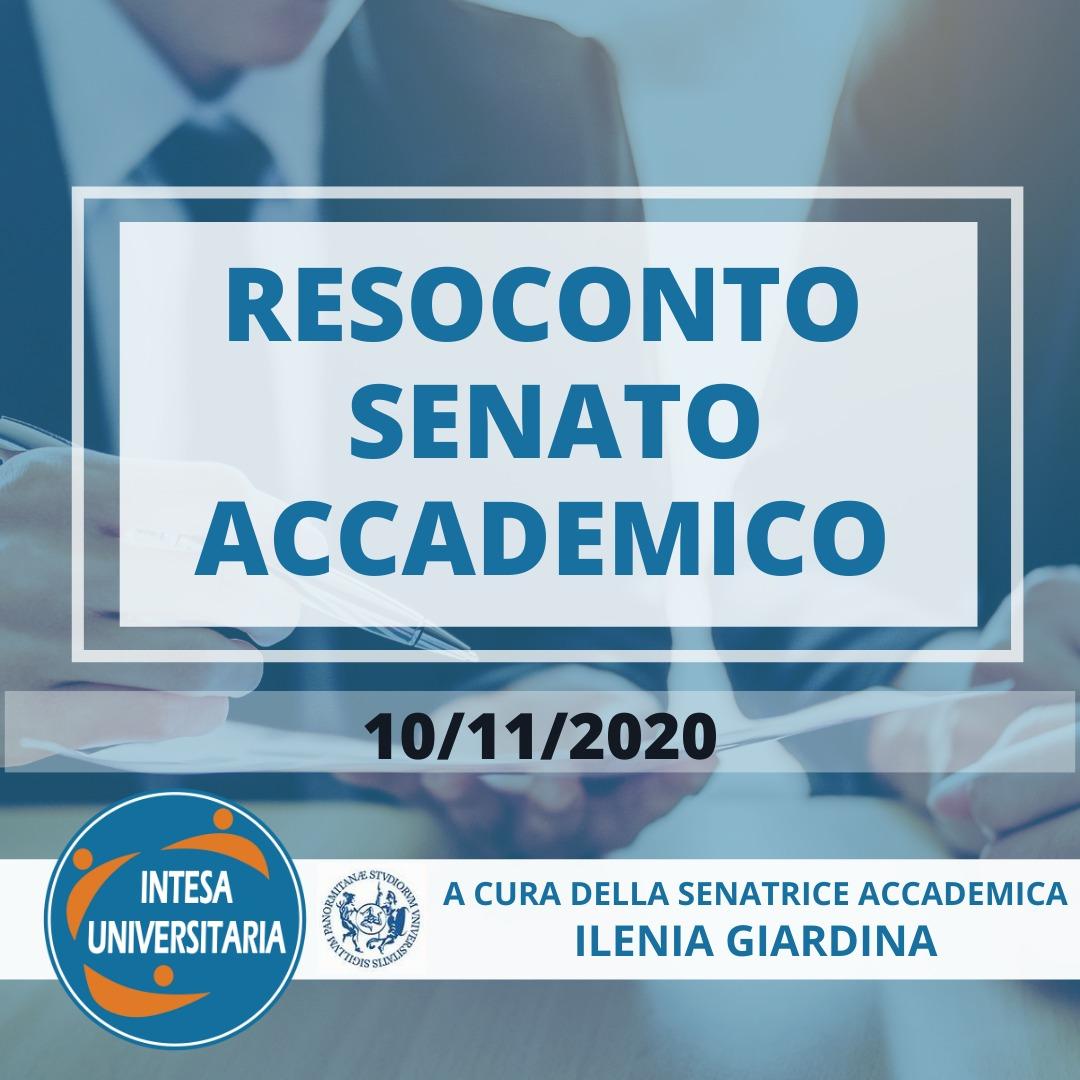 RESOCONTO SEDUTA SENATO ACCADEMICO 10/11/2020