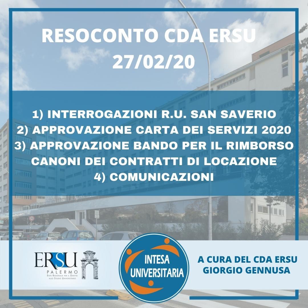RESOCONTO CDA ERSU del 27/02/21