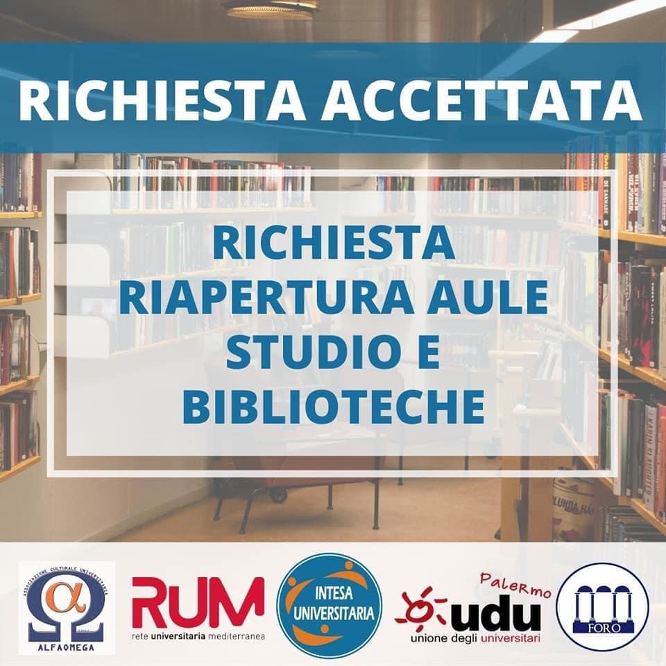 Biblioteche Unipa, accettata la richiesta di riapertura aule studio e biblioteche 2021