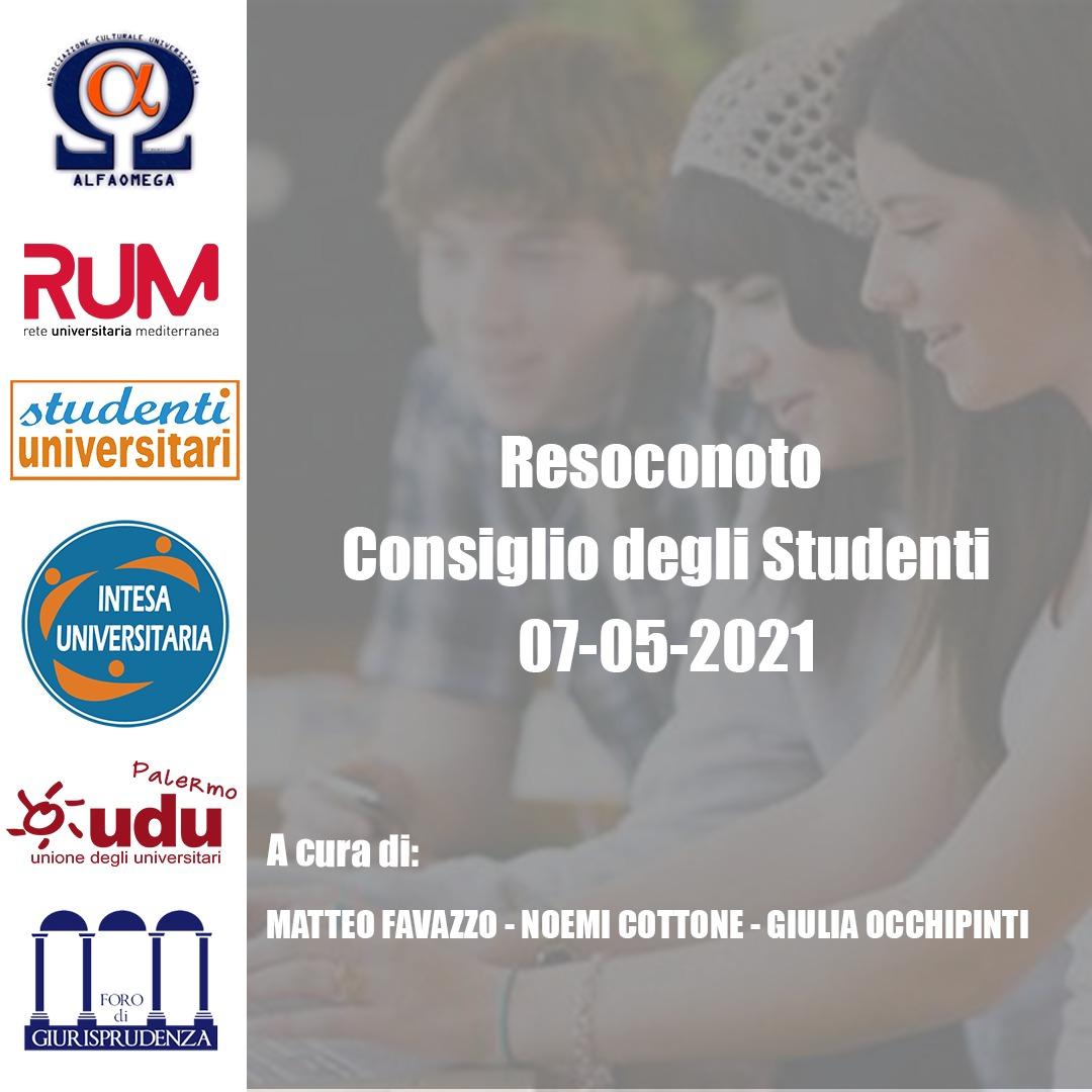 Unipa, Resoconto Consiglio degli Studenti (07/05/2021)