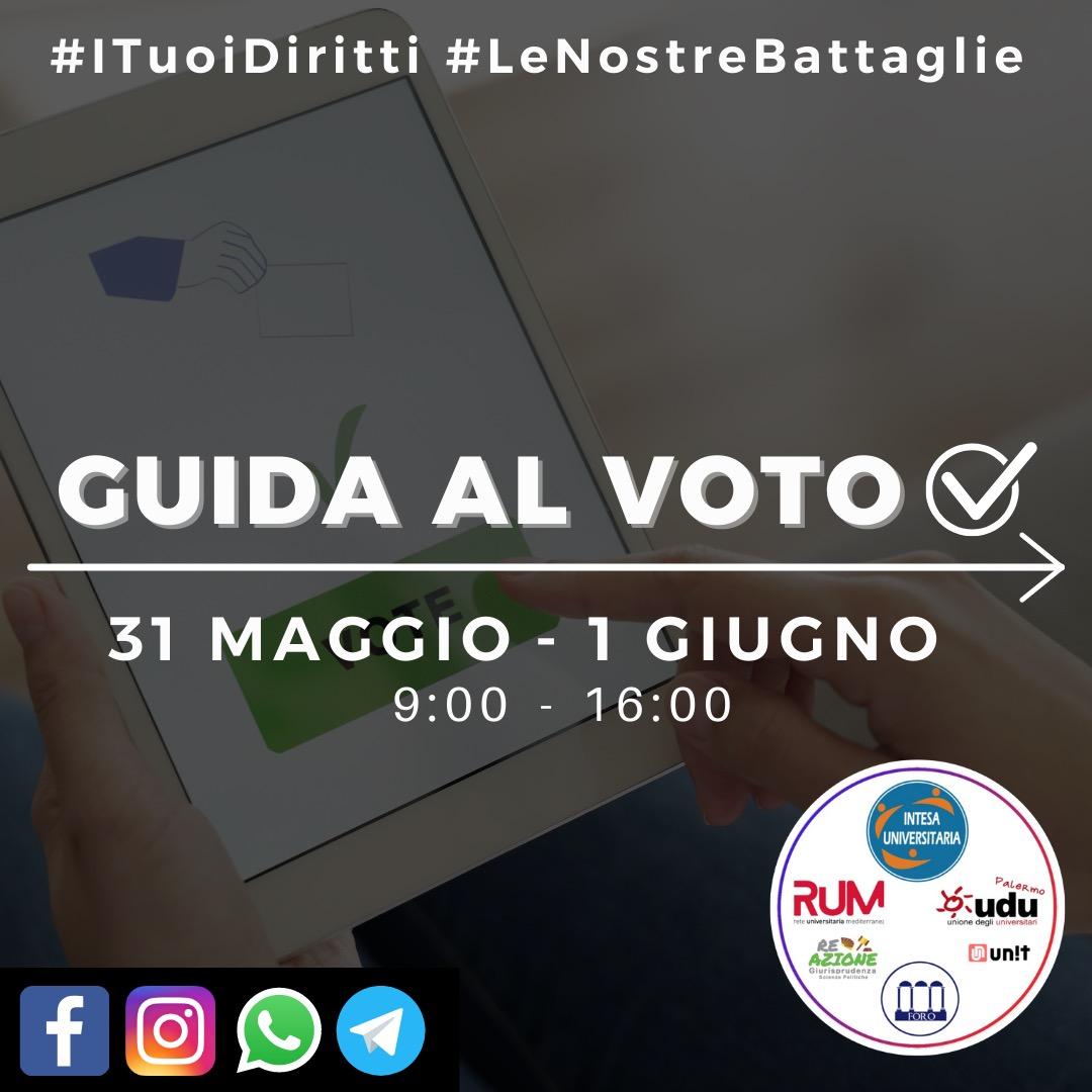 UNIPA: Guida al voto Elezioni studentesche 31 Maggio e 1 Giugno
