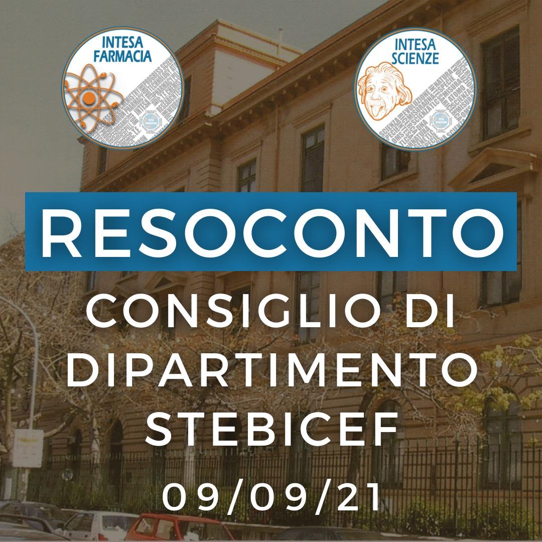 Resoconto Consiglio di Dipartimento STEBICEF 09/09/2021