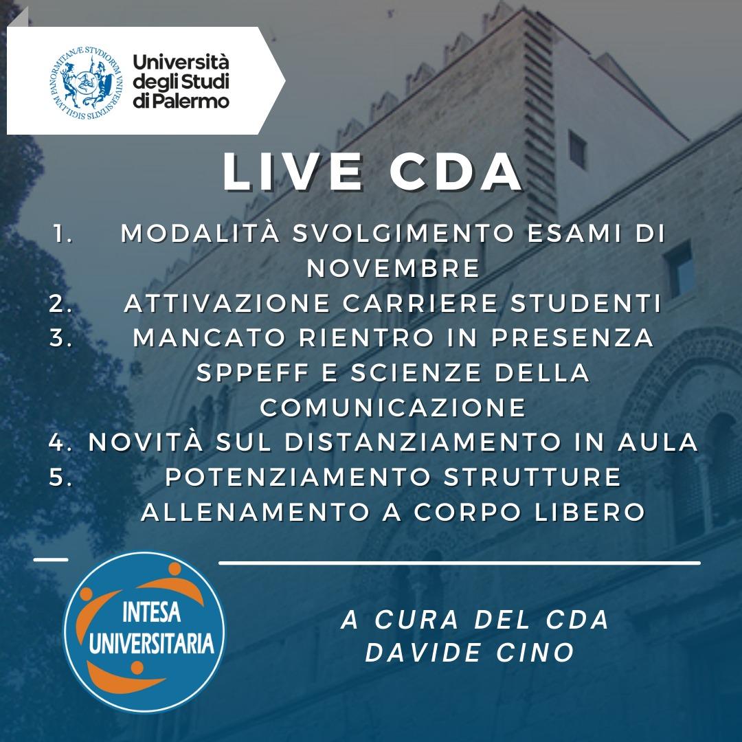 Live CdA Unipa – Consiglio di Amministrazione del 14/10/2021
